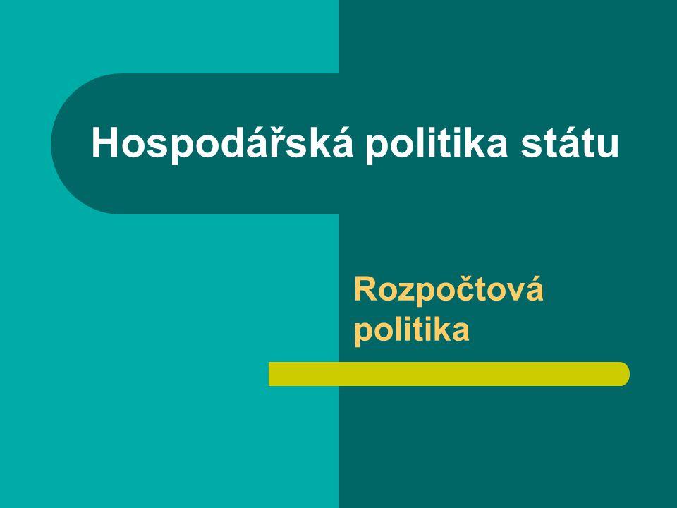 Hospodářská politika státu Rozpočtová politika