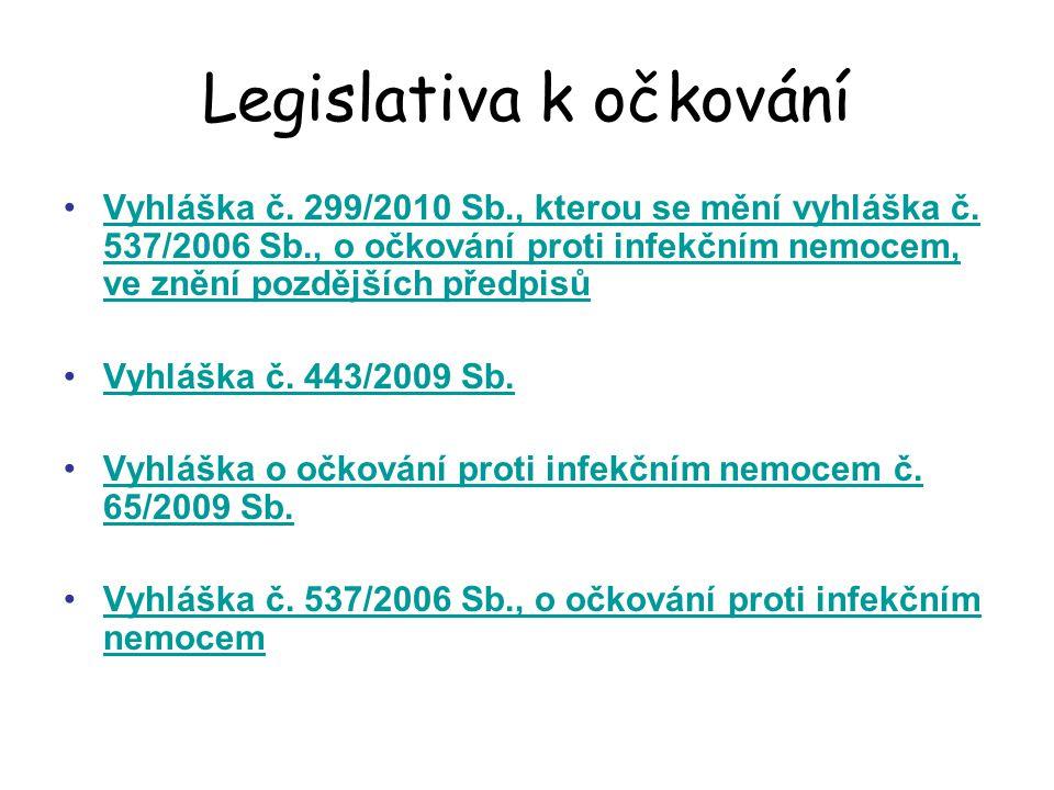 Legislativa k očkování Vyhláška č.299/2010 Sb., kterou se mění vyhláška č.