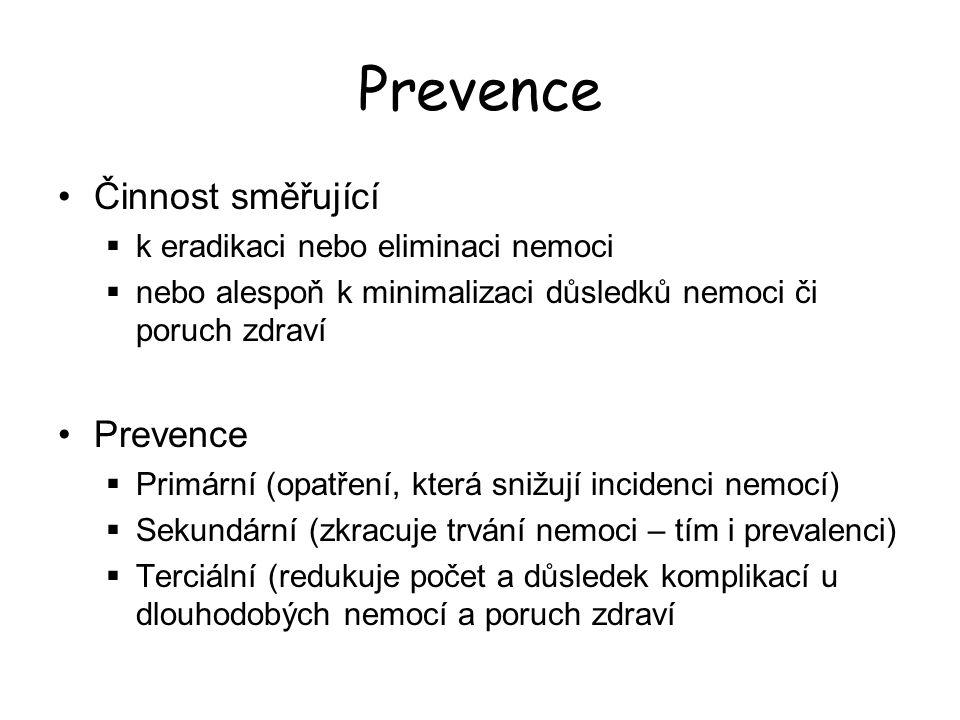 Eliminace, eradikace Eliminace – dlouhodobé přerušení procesu šíření nákazy, nevylučuje možnost výskytu sporadických zavlečených onemocnění preventivní protiepidemická opatření zůstávají v platnosti  (příklad: ČR - polio, spalničky, vzteklina…) Eradikace – globální vymýcení patogenního agens, globální vymizení příslušného infekčního onemocnění  (příklad: svět - variola)