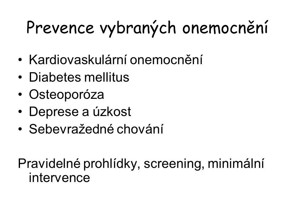 Prevence vybraných onemocnění Kardiovaskulární onemocnění Diabetes mellitus Osteoporóza Deprese a úzkost Sebevražedné chování Pravidelné prohlídky, screening, minimální intervence
