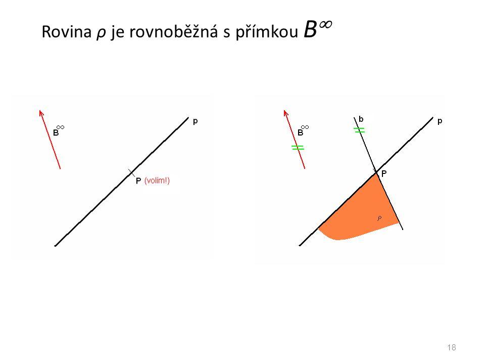 Rovina ρ je rovnoběžná s přímkou B  18