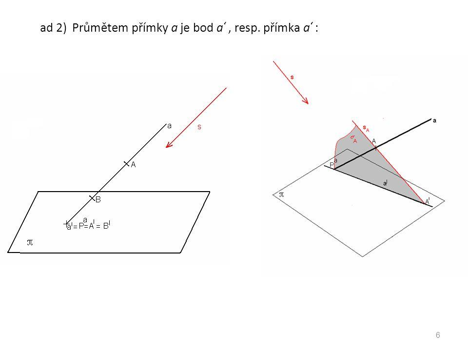 ad 5) Průmětem dvou různých rovnoběžných přímek mohou být dva různé body ( a // b // s ): 7
