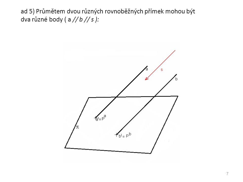 ad 5) Průmětem dvou různých rovnoběžných přímek může být jedna přímka: 8