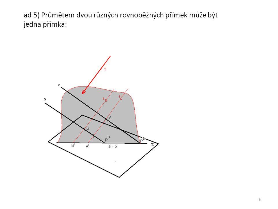 ad 5) Průmětem dvou různých rovnoběžných přímek mohou být dvě různé rovnoběžné přímky: 9