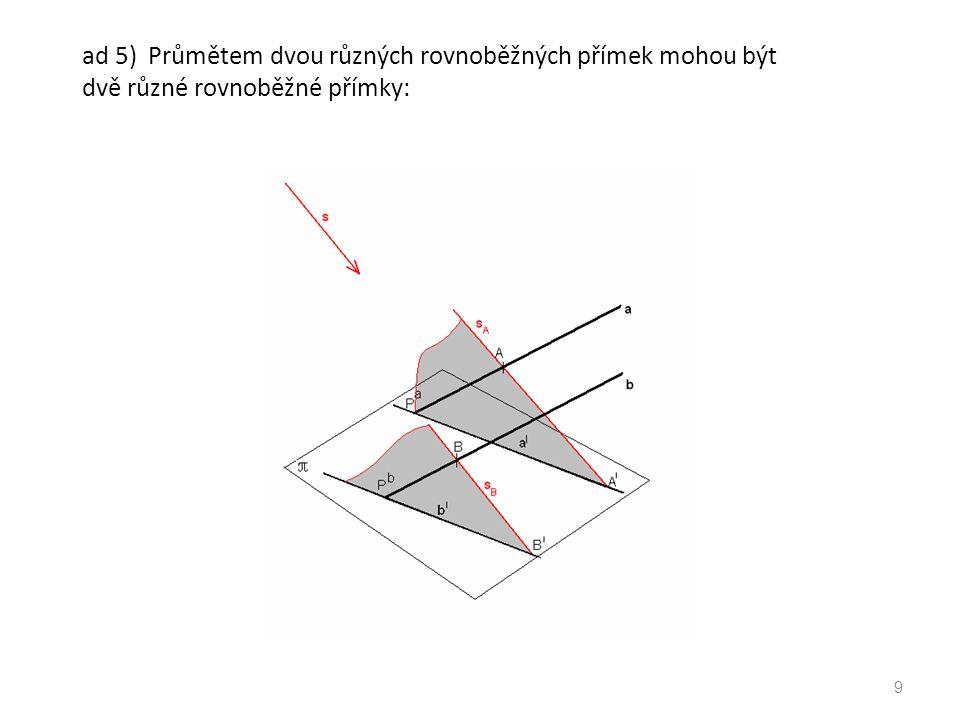 ad 8) Promítání zachovává střed úsečky. 10