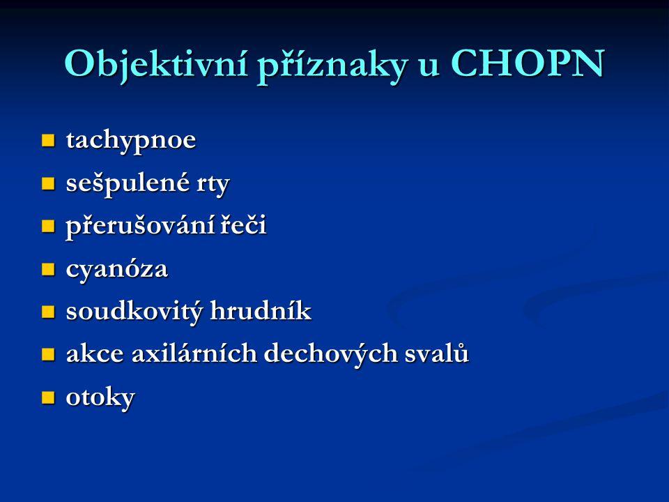 Objektivní příznaky u CHOPN tachypnoe tachypnoe sešpulené rty sešpulené rty přerušování řeči přerušování řeči cyanóza cyanóza soudkovitý hrudník soudk