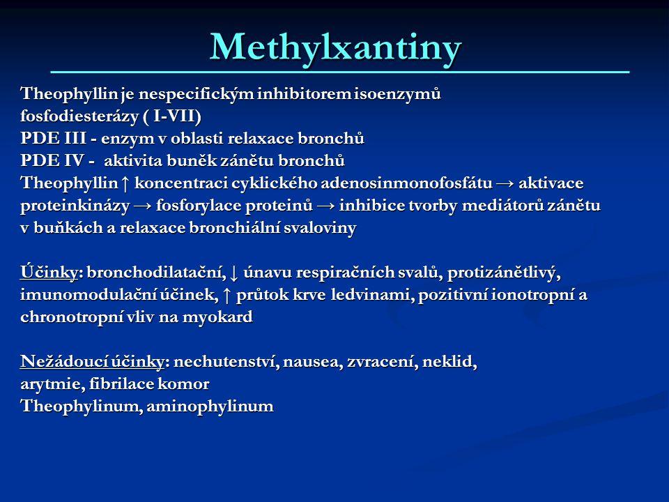 Methylxantiny Theophyllin je nespecifickým inhibitorem isoenzymů fosfodiesterázy ( I-VII) PDE III - enzym v oblasti relaxace bronchů PDE IV - aktivita