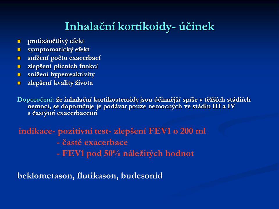 Inhalační kortikoidy- účinek protizánětlivý efekt protizánětlivý efekt symptomatický efekt symptomatický efekt snížení počtu exacerbací snížení počtu