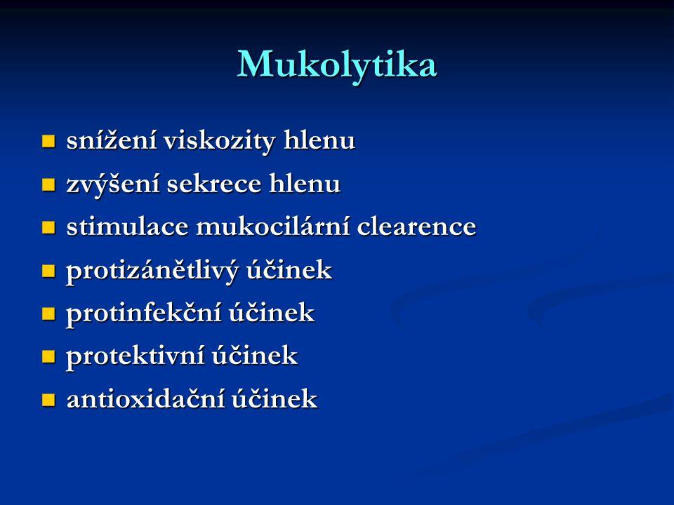 Mukolytika snížení viskozity hlenu snížení viskozity hlenu zvýšení sekrece hlenu zvýšení sekrece hlenu stimulace mukocilární clearence stimulace mukocilární clearence protizánětlivý účinek protizánětlivý účinek protinfekční účinek protinfekční účinek protektivní účinek protektivní účinek antioxidační účinek antioxidační účinek
