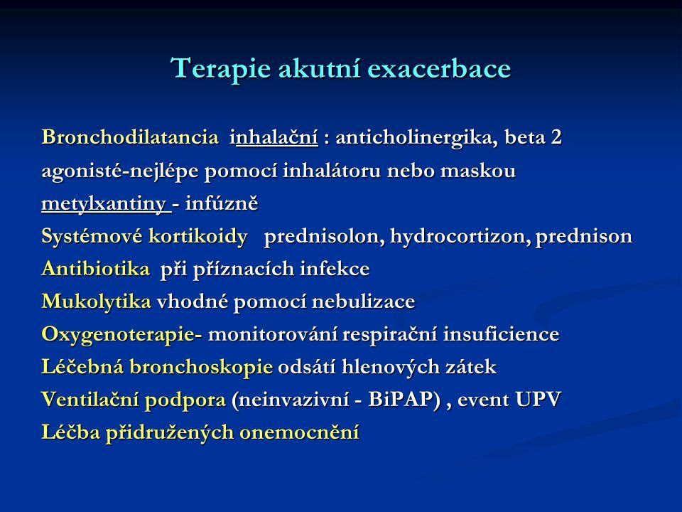 Terapie akutní exacerbace Bronchodilatancia inhalační : anticholinergika, beta 2 agonisté-nejlépe pomocí inhalátoru nebo maskou metylxantiny - infúzně Systémové kortikoidy prednisolon, hydrocortizon, prednison Antibiotika při příznacích infekce Mukolytika vhodné pomocí nebulizace Oxygenoterapie- monitorování respirační insuficience Léčebná bronchoskopie odsátí hlenových zátek Ventilační podpora (neinvazivní - BiPAP), event UPV Léčba přidružených onemocnění