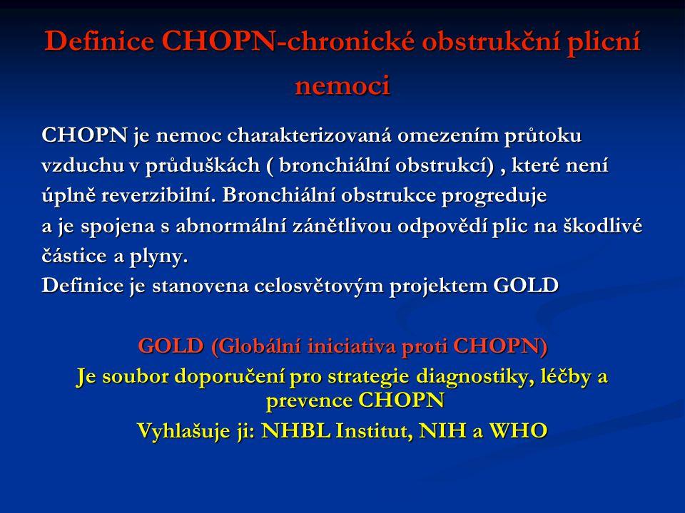 Definice CHOPN-chronické obstrukční plicní nemoci CHOPN je nemoc charakterizovaná omezením průtoku vzduchu v průduškách ( bronchiální obstrukcí), které není úplně reverzibilní.