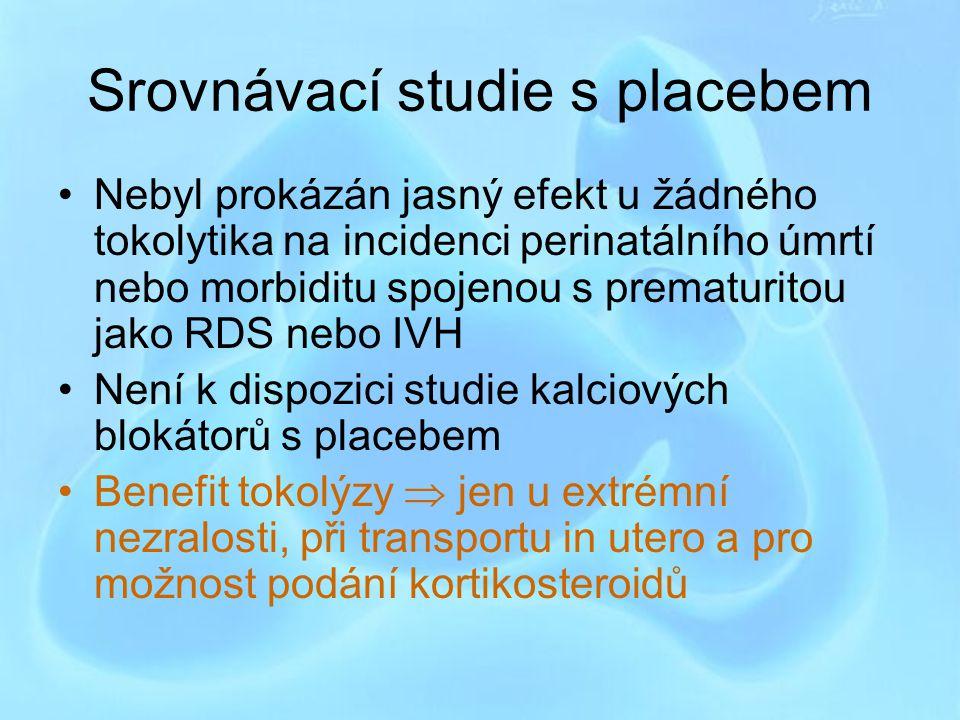 Srovnávací studie s placebem Nebyl prokázán jasný efekt u žádného tokolytika na incidenci perinatálního úmrtí nebo morbiditu spojenou s prematuritou j