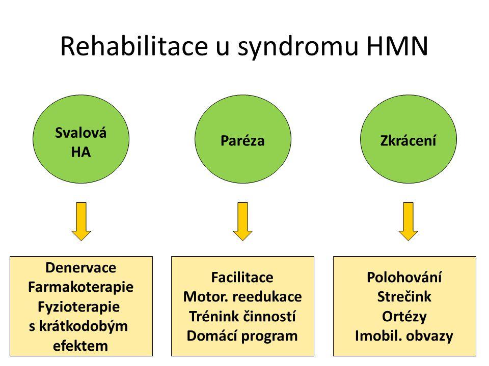 Svalová HA ParézaZkrácení Rehabilitace u syndromu HMN Denervace Farmakoterapie Fyzioterapie s krátkodobým efektem Facilitace Motor. reedukace Trénink