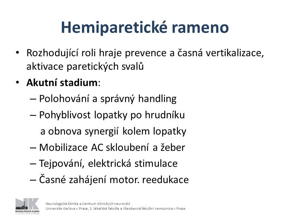 Neurologická klinika a Centrum klinických neurověd Universita Karlova v Praze, 1. lékařská fakulta a Všeobecná fakultní nemocnice v Praze Hemiparetick