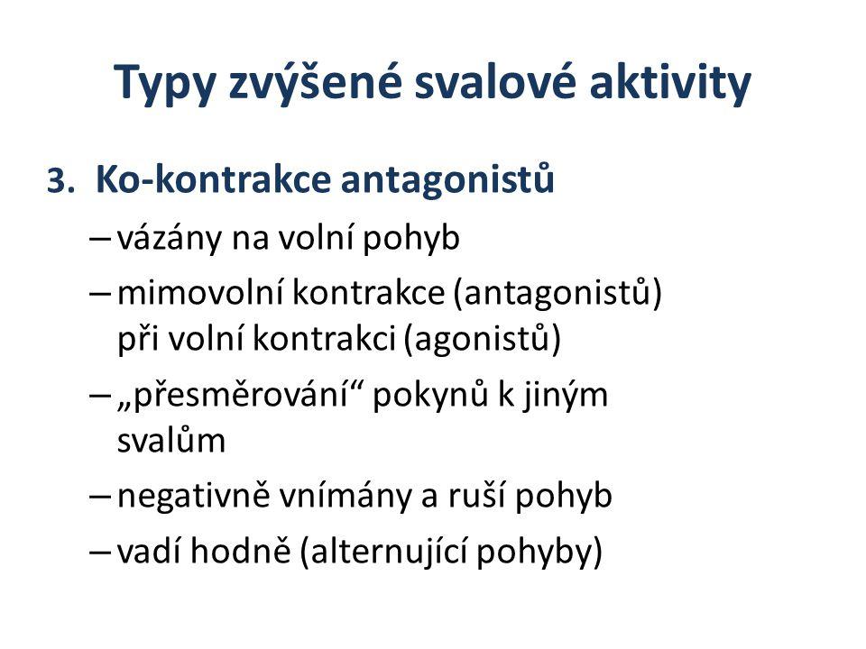 Typy zvýšené svalové aktivity 3. Ko-kontrakce antagonistů – vázány na volní pohyb – mimovolní kontrakce (antagonistů) při volní kontrakci (agonistů) –