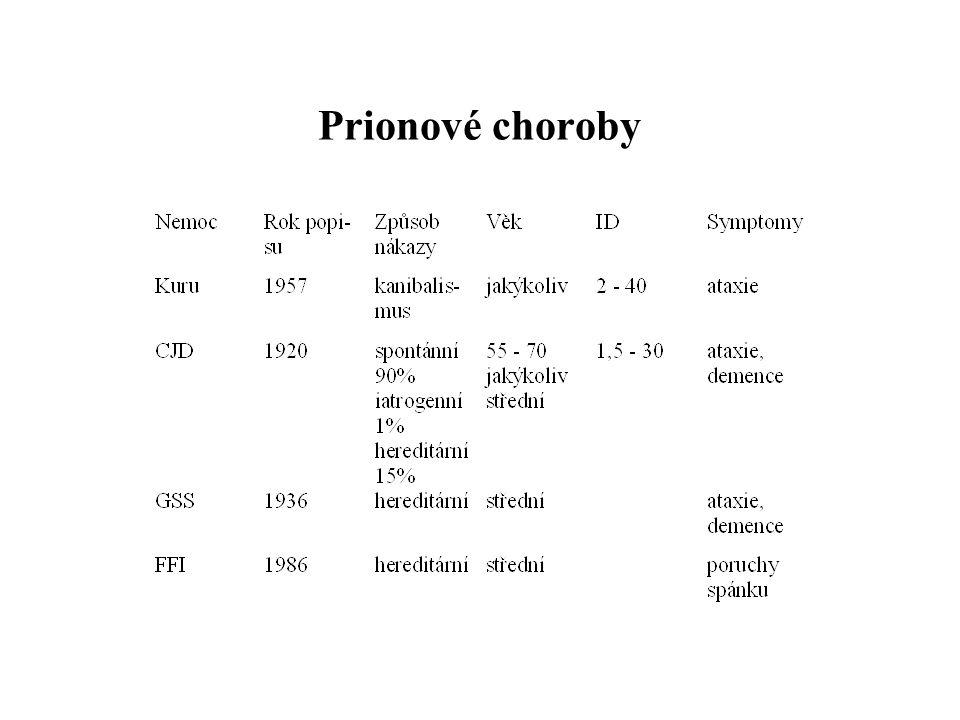 Původce choroby 1982 - Stanley Prusiner - prion (1997 Nobelova cena) prion normální bílkoviny bez patogenních vlastností (PrPC - spirálovitá podoba, tvoří se na povrchu buňky) patogenní priony - jiná prostorová dimenze, houbovitý rozklad mozku (PrPSc - rovná podoba - lamely, tvoří se v cytoplasmě, může paralyzovat b.)