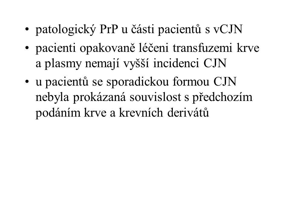 diagnostika prionových chorob histologický průkaz vakuolizace neuronů a neuropilů imunohistochemická metoda - PrP BSE Western blotting (ověřují přítomnost prionů ve tkáni (2-3 dny) imunoblot k detekci proteáza-rezistentního fragmentu PrP Res ELISA sendvičová imunoanalýza pro PrP Res
