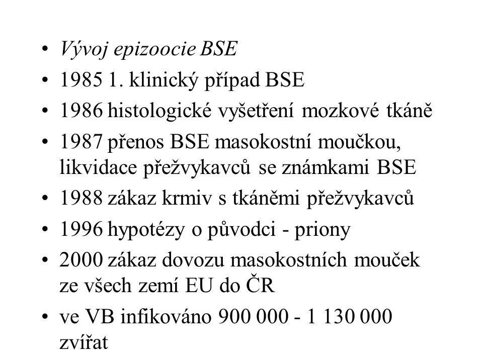 Vývoj epizoocie BSE 1985 1. klinický případ BSE 1986 histologické vyšetření mozkové tkáně 1987 přenos BSE masokostní moučkou, likvidace přežvykavců se