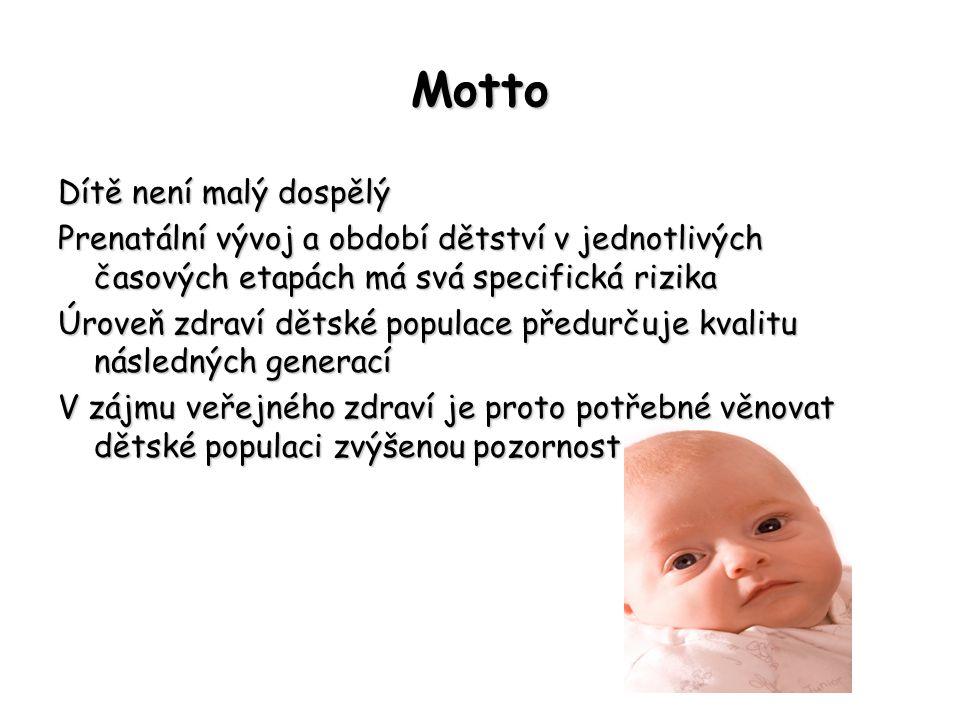 Motto Dítě není malý dospělý Prenatální vývoj a období dětství v jednotlivých časových etapách má svá specifická rizika Úroveň zdraví dětské populace
