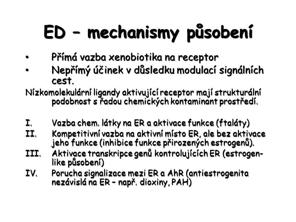 ED – mechanismy působení Přímá vazba xenobiotika na receptor Přímá vazba xenobiotika na receptor Nepřímý účinek v důsledku modulací signálních cest. N