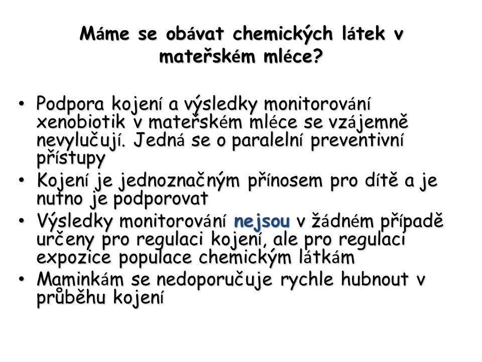 M á me se ob á vat chemických l á tek v mateřsk é m ml é ce? Podpora kojen í a výsledky monitorov á n í xenobiotik v mateřsk é m ml é ce se vz á jemně