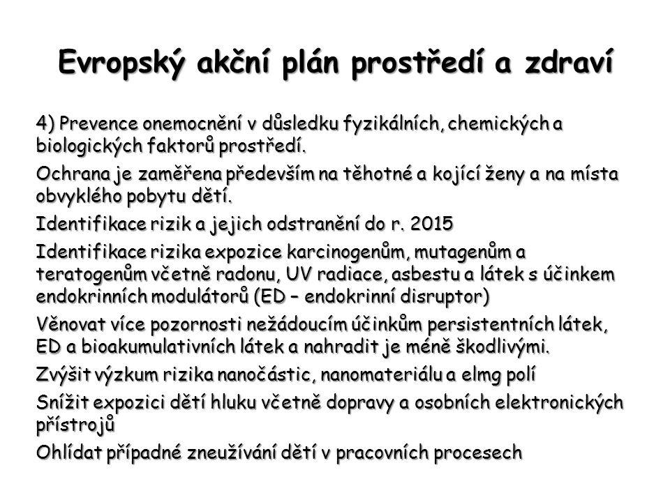 Evropský akční plán prostředí a zdraví 4) Prevence onemocnění v důsledku fyzikálních, chemických a biologických faktorů prostředí. Ochrana je zaměřena