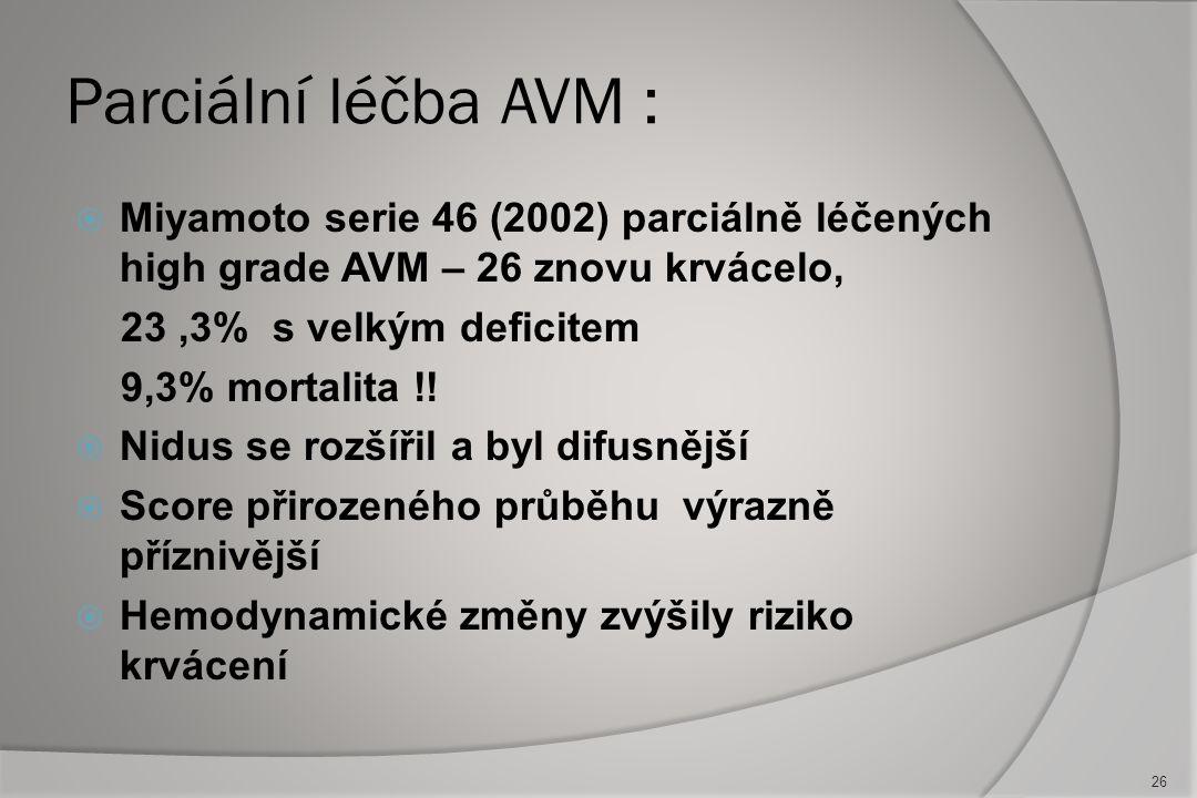 """Koagulace AVM: feedery –nidus -drenáž:  Adekvátní koagulace - """"mokrý"""" režim  Peroperační kontrola TK (80-90 mm Hg )  Koagulace """"red worms"""": dočasné"""