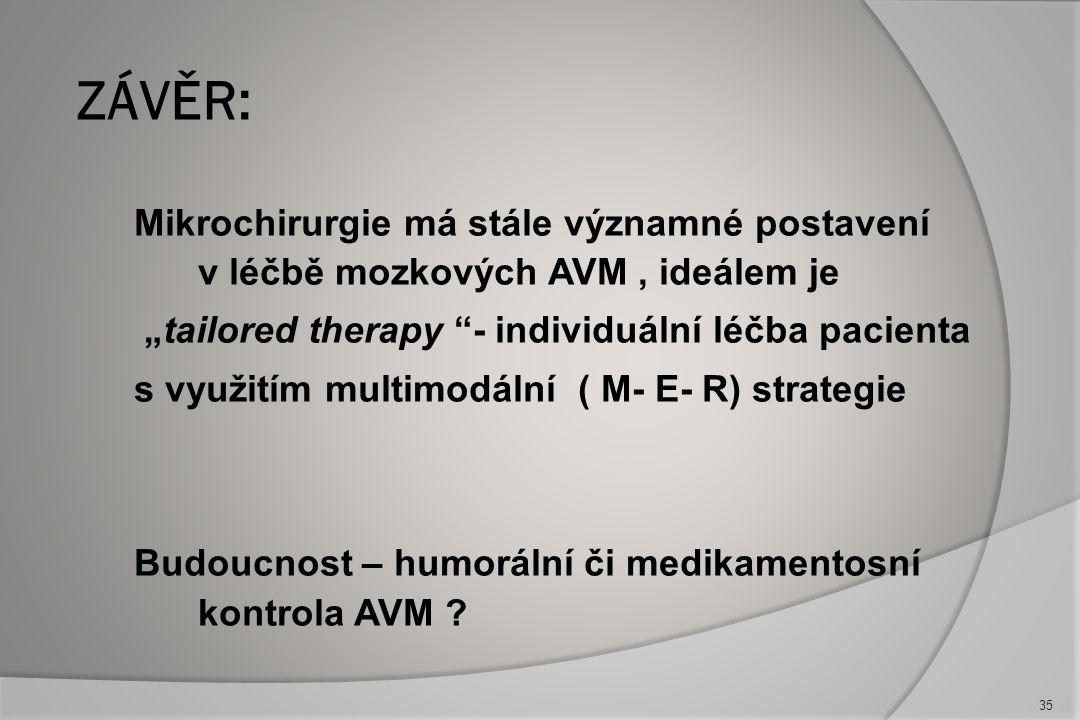 Malá přístupná AVM ( I.a II.) - mikrochirurgie je stále metodou první volby ! Kombinovaná léčba III.-IV. stupně s postupnou předoperační embolizací +
