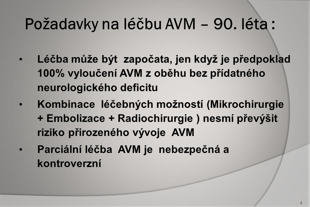Malá přístupná AVM ( I.a II.) - mikrochirurgie je stále metodou první volby .