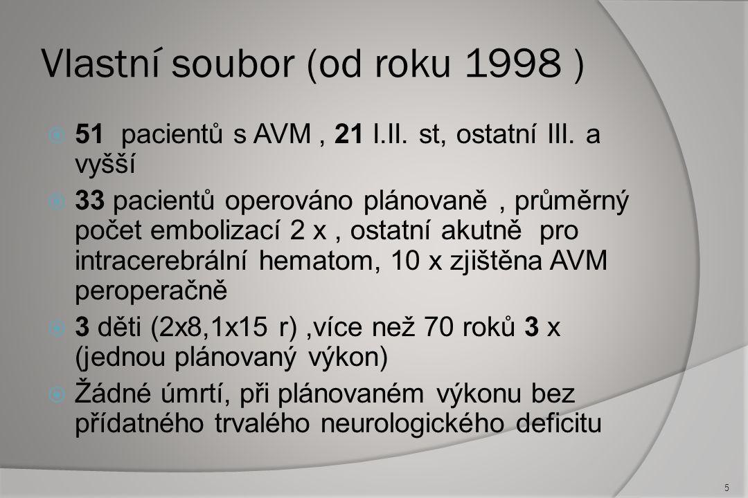 Vlastní soubor (od roku 1998 )  51 pacientů s AVM, 21 I.II.