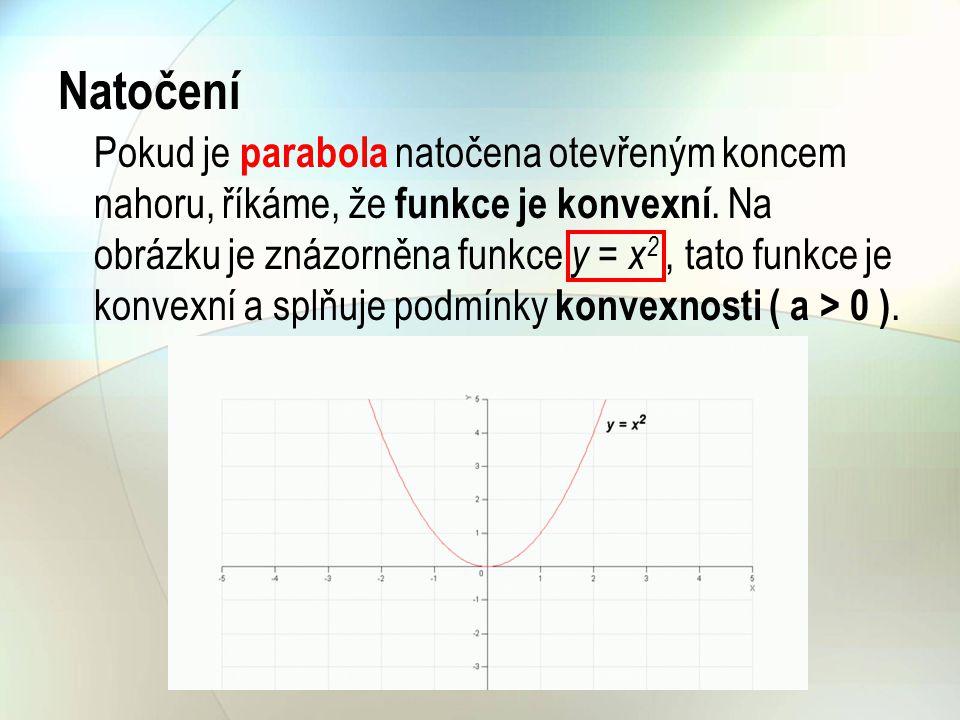 Pokud je parabola natočena otevřeným koncem dolů, říkáme, že funkce je konkávní.