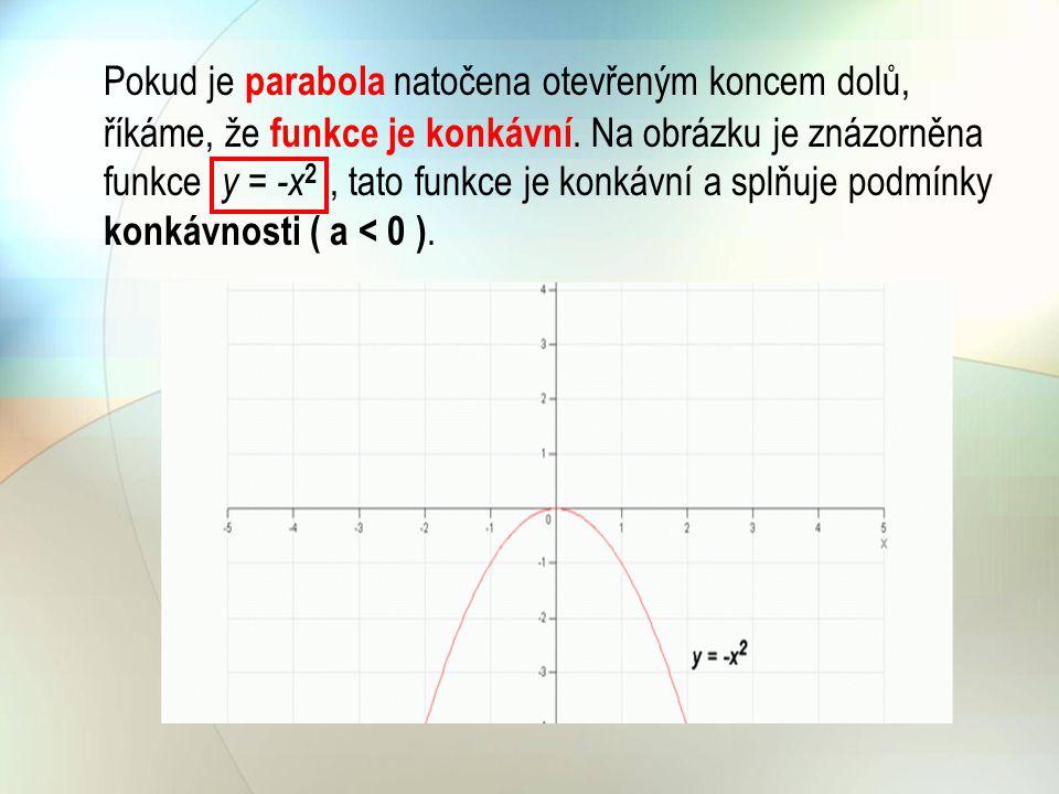 Vliv konstanty c na posunutí grafu Grafy kvadratických funkcí, kde mají tu vlastnost, že jejich vrchol leží vždy na ose y.