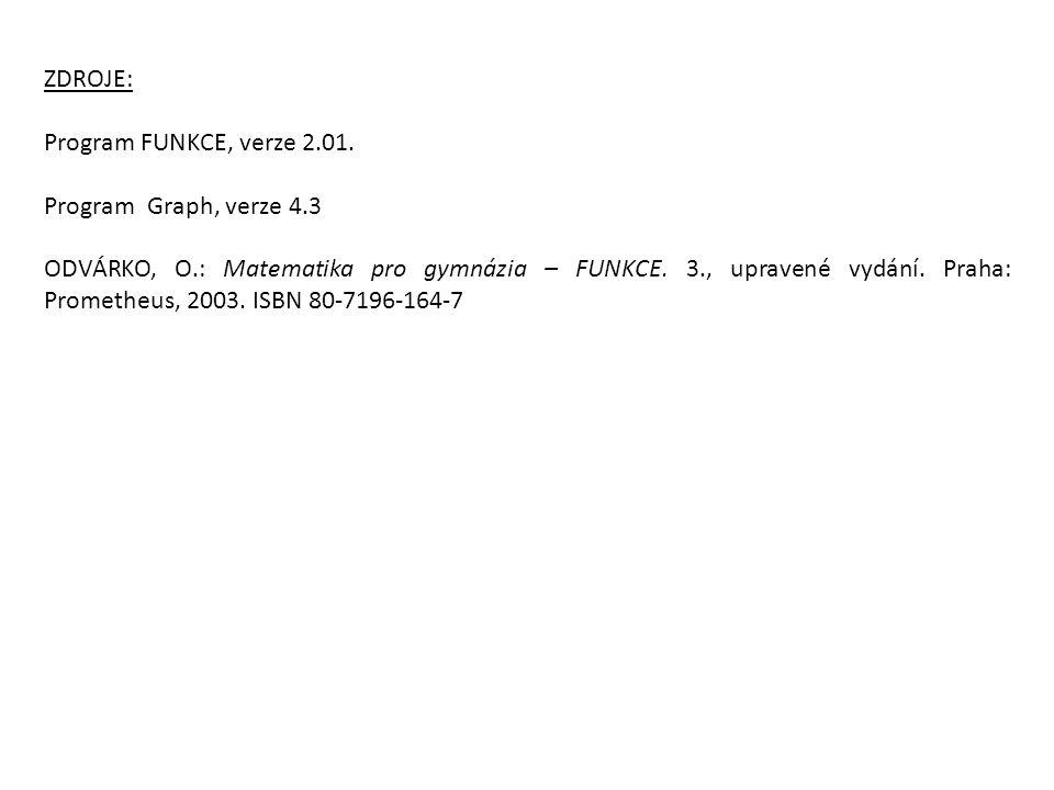 ZDROJE: Program FUNKCE, verze 2.01.