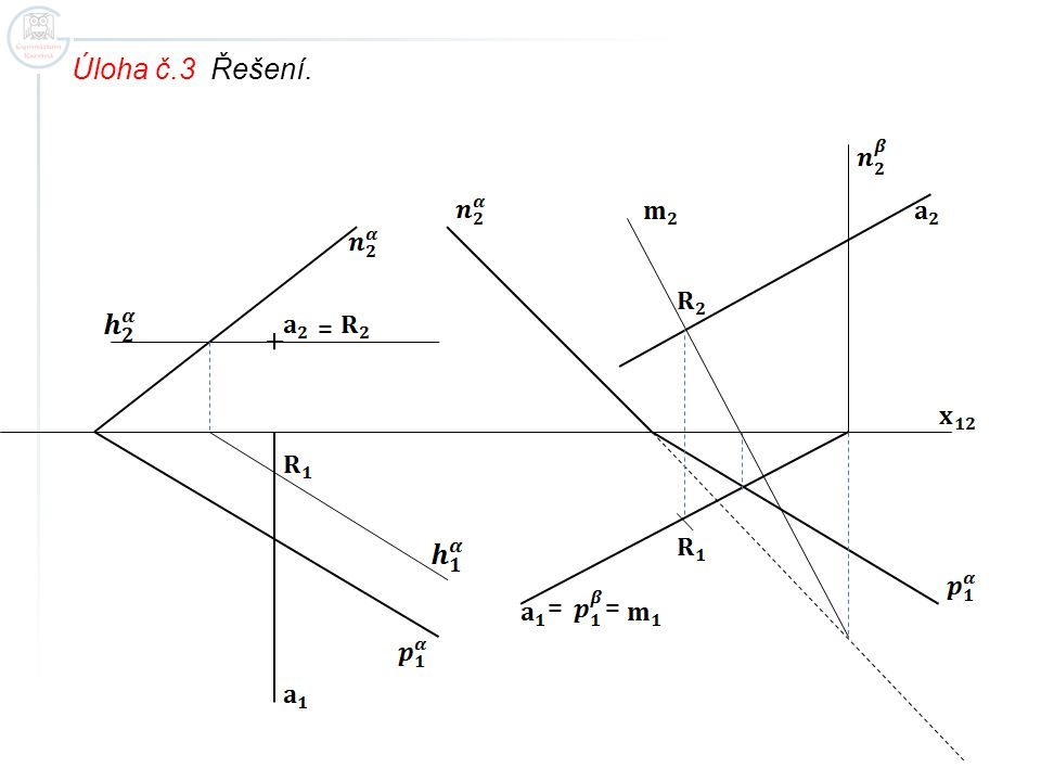 Úloha č. 4 Určete průsečík přímky a s rovinou bc. Otázka: Čím je dána rovina v této úloze?