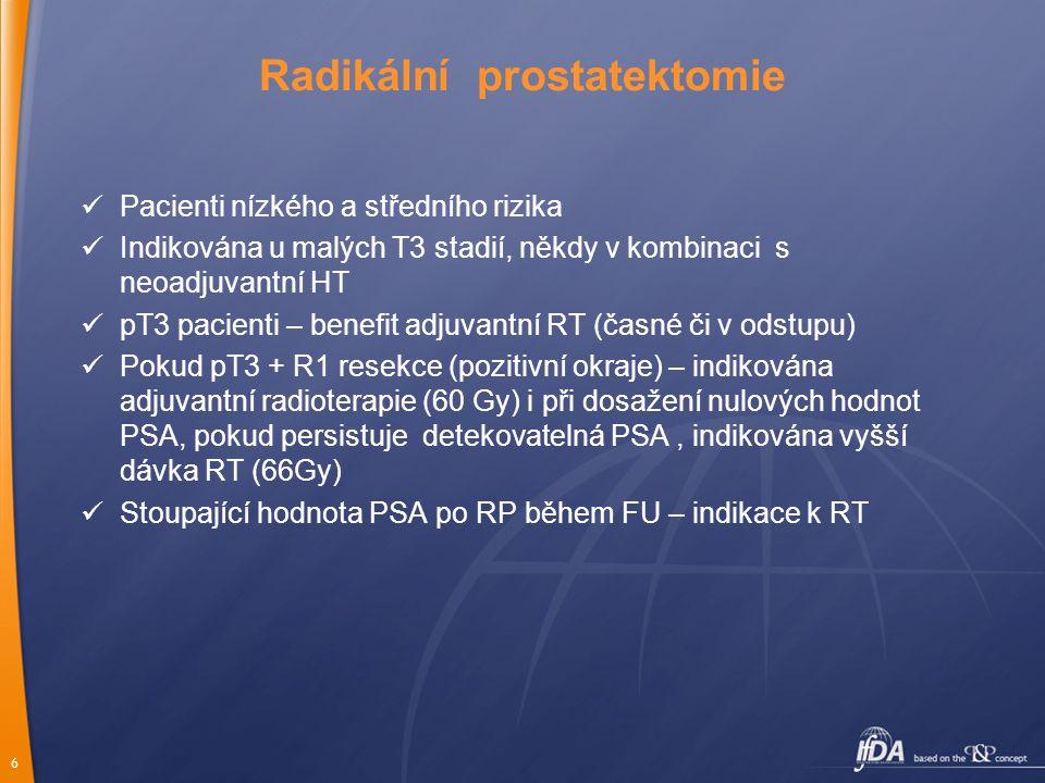 7 Lokálně pokročilé onemocnění (T3, T4 ± N1) RT + HT 3 roky (evidence based level 1) Eskalace celkové dávky RT (76-80Gy) – vyšší lokální kontrola Moderní techniky RT : 3D konformní radioterapie – možnost eskalace celkové dávky, 3D plánovací systémy, dávkově objemové histogramy, vstupní pole tvarovaná mnoholistovým kolimátorem IMRT (RT s modulovanou intensitou) – možnost ozářit i konkávní objemy, inverzní plánování, nižší radiační zátěž rizikových orgánů IGRT (obrazem řízená RT) –možnost denně zobrazit cílový objem, kontrola polohy mezi jednotlivými frakcemi, snížení chyb v nastavení – redukce PTV, nižší dávka na rizikové orgány, Využívá : portálové zobrazení (MV, kV záření X), USG, on- board imaging (kombinace urychlovače s CT), kontrastní intraprostatické klipy