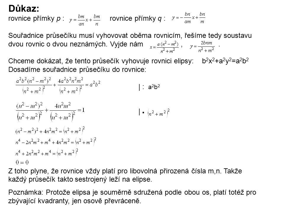rovnice přímky p : rovnice přímky q : Souřadnice průsečíku musí vyhovovat oběma rovnicím, řešíme tedy soustavu dvou rovnic o dvou neznámých. Vyjde nám