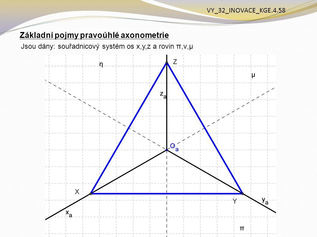 Základní pojmy pravoúhlé axonometrie Jsou dány: souřadnicový systém os x,y,z a rovin π,ν,μ VY_32_INOVACE_KGE.4.58