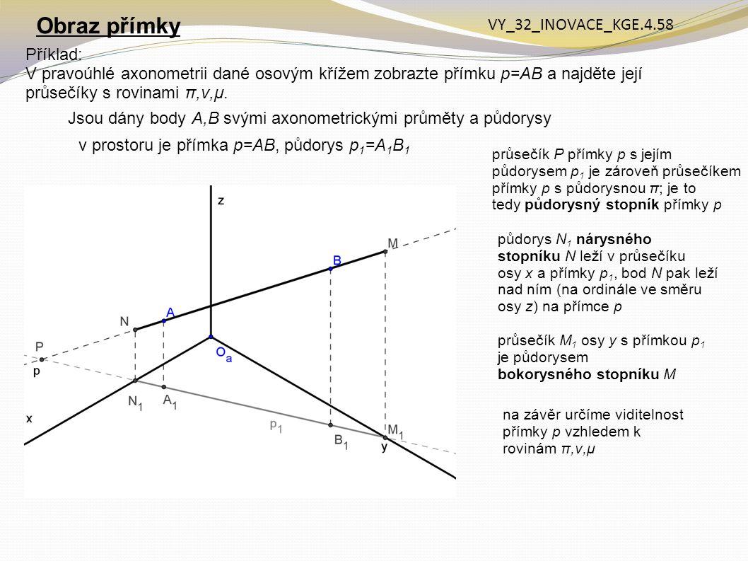 Příklad: V pravoúhlé axonometrii dané osovým křížem zobrazte přímku p=AB a najděte její průsečíky s rovinami π,ν,μ. Obraz přímky Jsou dány body A,B sv