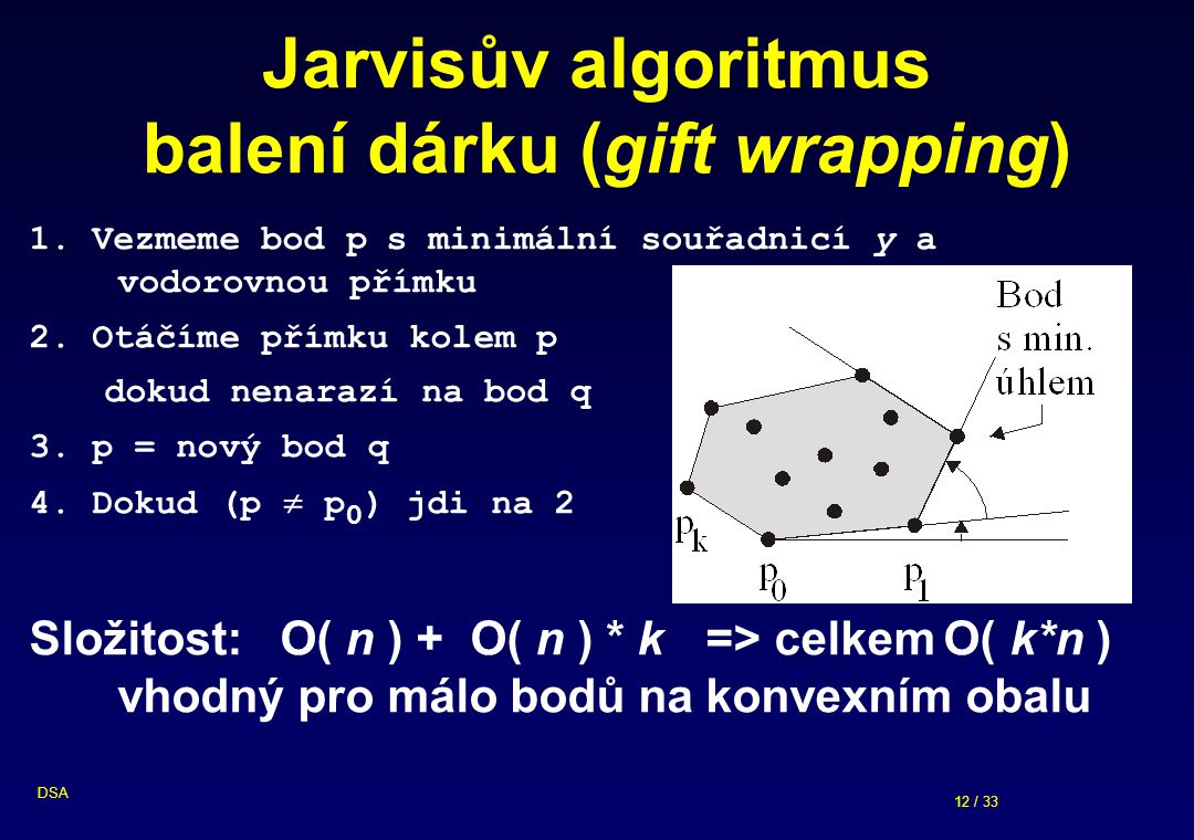 12 / 33 DSA Jarvisův algoritmus balení dárku (gift wrapping) 1.