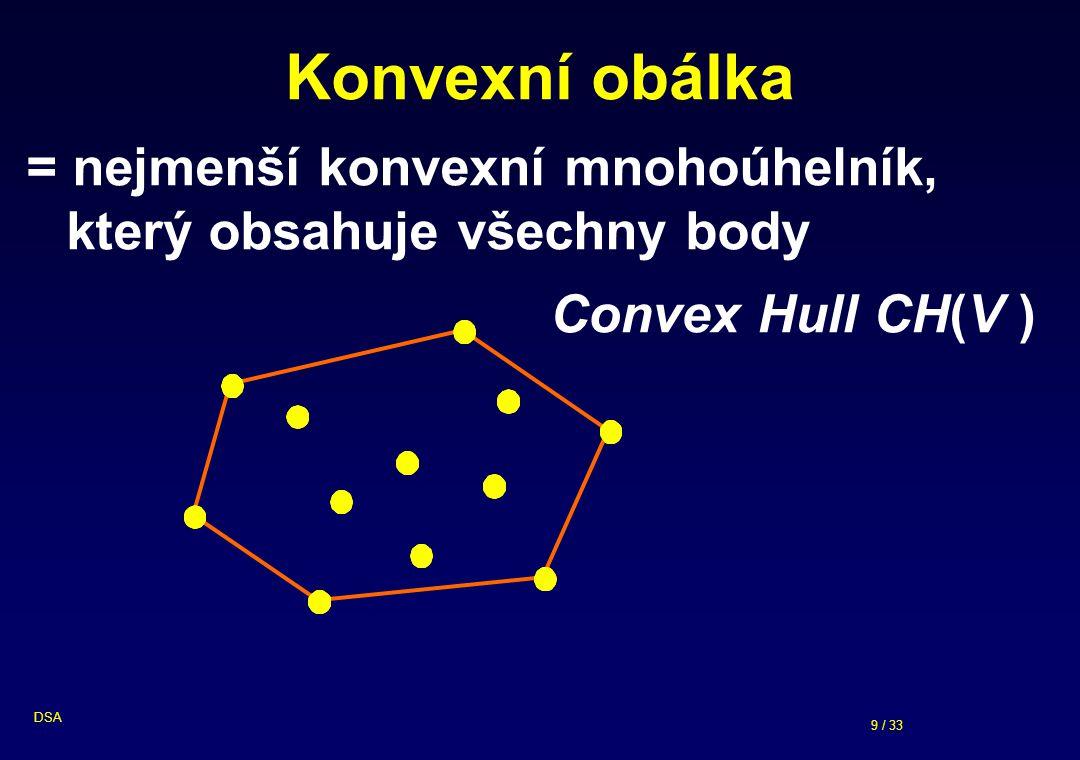 9 / 33 DSA Konvexní obálka = nejmenší konvexní mnohoúhelník, který obsahuje všechny body Convex Hull CH(V )