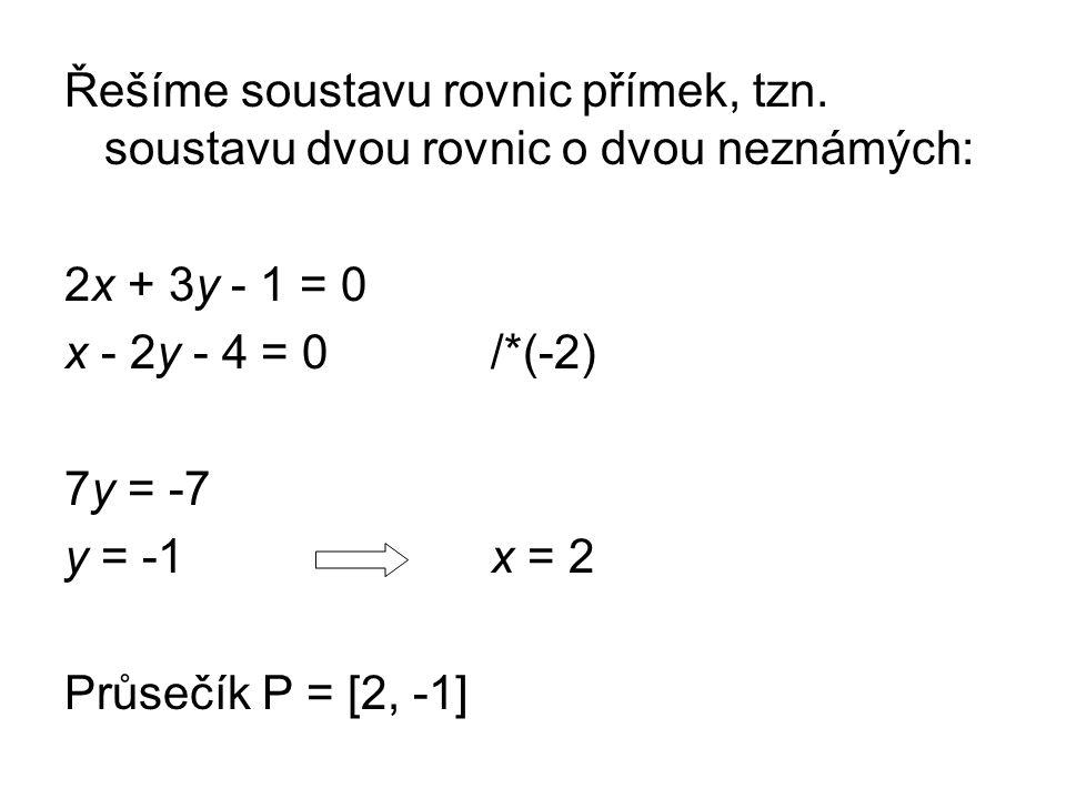 Řešíme soustavu rovnic přímek, tzn.
