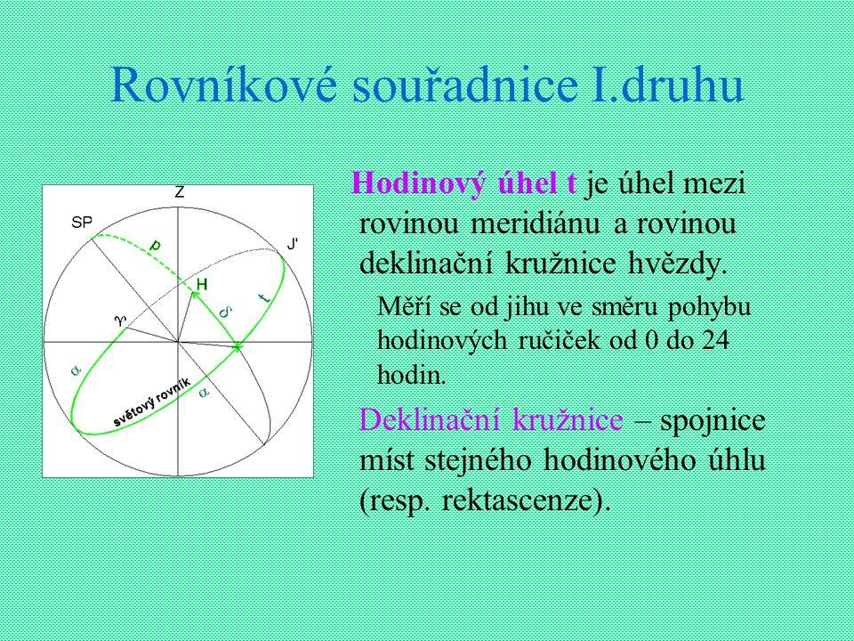 Rovníkové souřadnice I.druhu Hodinový úhel t je úhel mezi rovinou meridiánu a rovinou deklinační kružnice hvězdy. Měří se od jihu ve směru pohybu hodi
