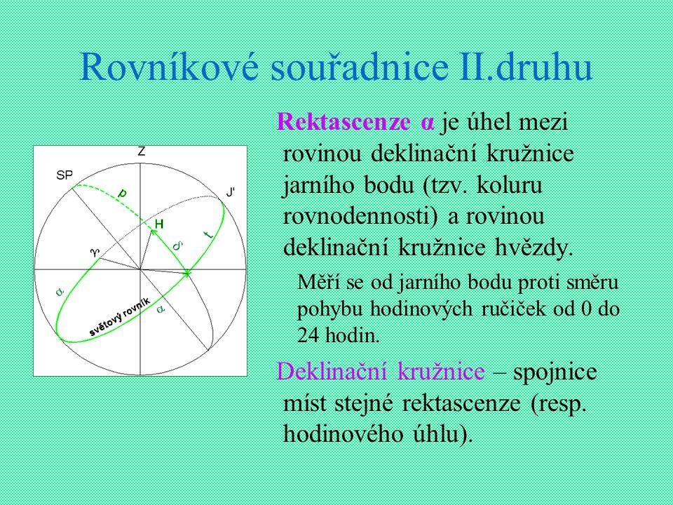 Rovníkové souřadnice II.druhu Rektascenze α je úhel mezi rovinou deklinační kružnice jarního bodu (tzv. koluru rovnodennosti) a rovinou deklinační kru