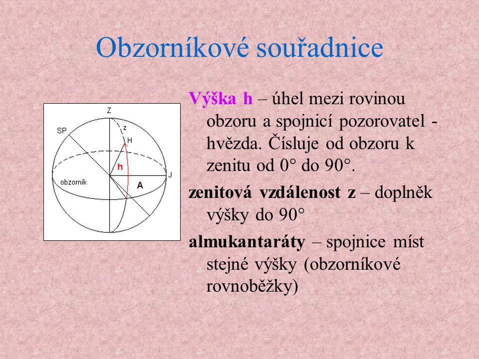 Obzorníkové souřadnice Výška h – úhel mezi rovinou obzoru a spojnicí pozorovatel - hvězda. Čísluje od obzoru k zenitu od 0° do 90°. zenitová vzdálenos