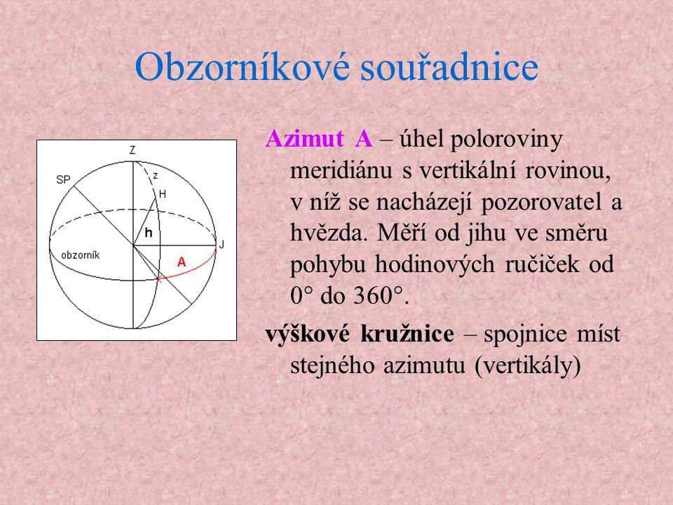 Obzorníkové souřadnice Azimut A – úhel poloroviny meridiánu s vertikální rovinou, v níž se nacházejí pozorovatel a hvězda. Měří od jihu ve směru pohyb