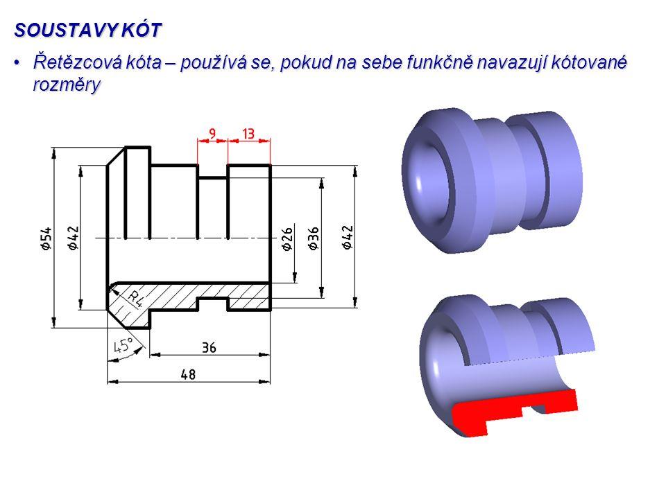 SOUSTAVY KÓT Řetězcová kóta – používá se, pokud na sebe funkčně navazují kótované rozměryŘetězcová kóta – používá se, pokud na sebe funkčně navazují k