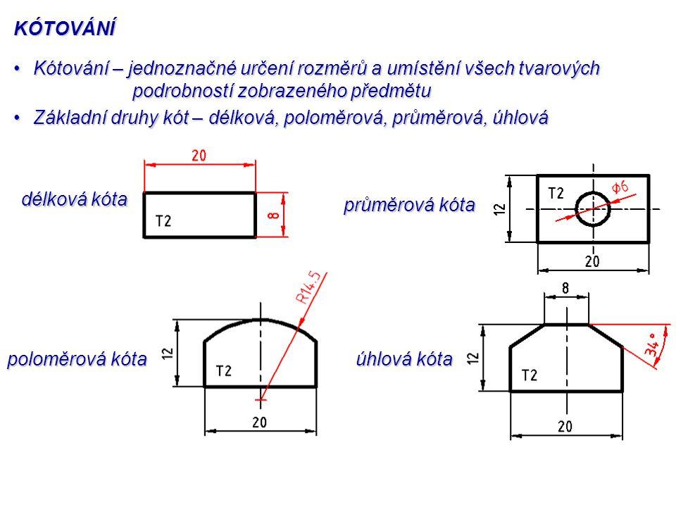 kótovací čára vynášecí čára (pomocná čára) hraničící značka (šipka) kóta ČÁSTI KÓTY ČÁSTI KÓTY Kótovací čára – kreslí se rovnoběžně s kótovaným rozměrem – nesmí být částí ani pokračováním osy nebo hrany – kreslí se plnou tenkou čarouKótovací čára – kreslí se rovnoběžně s kótovaným rozměrem – nesmí být částí ani pokračováním osy nebo hrany – kreslí se plnou tenkou čarou Hraničící značky – zakončují kótovací čáru a dotýkají se vynášecích (pomocných) čarHraničící značky – zakončují kótovací čáru a dotýkají se vynášecích (pomocných) čar Vynášecí čáry– někdy jsou označovány jako pomocné čáry – vycházejí z kótovaného rozměru – ohraničují kótovací čáru – kreslí se plnou tenkou čarouVynášecí čáry– někdy jsou označovány jako pomocné čáry – vycházejí z kótovaného rozměru – ohraničují kótovací čáru – kreslí se plnou tenkou čarou Kóta – číslo vyjadřující skutečnou velikost kótovaného rozměruKóta – číslo vyjadřující skutečnou velikost kótovaného rozměru