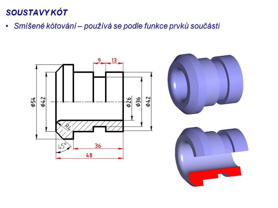 SOUSTAVY KÓT Smíšené kótování – používá se podle funkce prvků součástiSmíšené kótování – používá se podle funkce prvků součásti