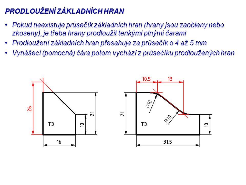 ODKAZOVÁ ČÁRA Vychází-li odkazová čára z plochy, začíná tlustou tečkou o průměru přibližně 1,5 mmVychází-li odkazová čára z plochy, začíná tlustou tečkou o průměru přibližně 1,5 mm
