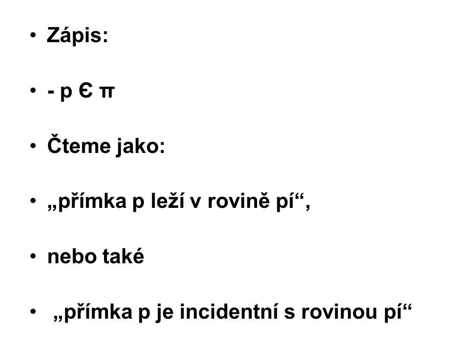 """Zápis: - p Є π Čteme jako: """"přímka p leží v rovině pí"""", nebo také """"přímka p je incidentní s rovinou pí"""""""